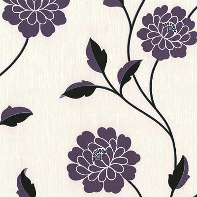 Erismann Savanna Floral Wallpaper Purple Cream Black