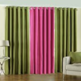 PINDIA 3 PC COMBO Faux Silk Eyelet Door Window Curtain, Polyester Plain Ringtop - 7ft Green2 Pink1