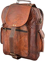 Kanu31 Adult Vintage Leather Laptop Travel Backpack Rucksack 17\