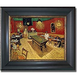 The Night Cafe (Pool Room) by Van Gogh Black & Antique Gold Framed Premium Canvas (Ready-to-Hang)