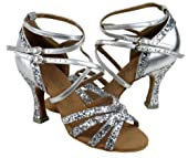 "Very Fine Salsa Ballroom Tango Latin Dance Shoes C5008M Bundle with Dance Shoe Heel Protectors 3"" Heel"