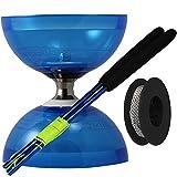 """Juggle Dream - Diábolo """"Cyclone Quartz 2"""", palos de control en aluminio y cuerda profesional de 10 m, color azul (AMPAC-006/BLU)"""