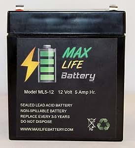 Max Life Battery - ML5-12 - 12V 5AH Electric Trailer Brakes Breakaway Kit Rechargeable Battery - ML5-12ALT10
