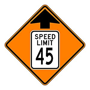 MUTCD W3-5 Orange Speed Limit 45 Reduced Speed Limit Sign, 3M Reflective Sheeting, Highest Gauge Aluminum,Laminated, UV Protected, Made in U.S.A
