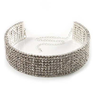 8-Row Swarovski Crystal Choker Necklace (Silver & Clear)