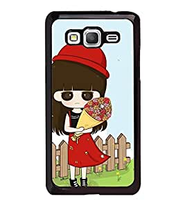 Fuson Premium 2D Back Case Cover Cute baby with Flowers With pink Background Degined For Samsung Galaxy Grand Prime G530h