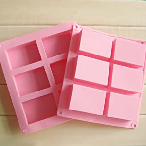 Ozera 6 Cavities Silicone Soap Mold (2 Pack), Baking Mold Cake Pan, Biscuit Chocolate Mold,Ice Cube Tray