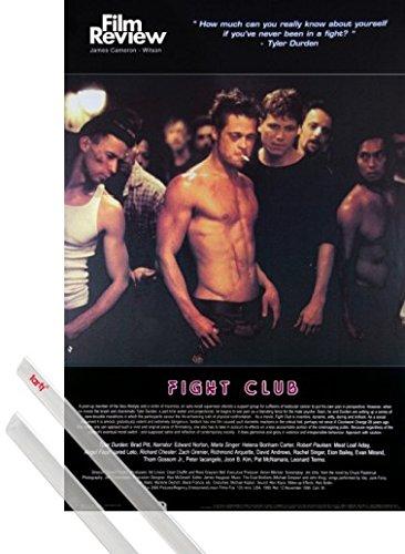 Poster + Sospensione : Fight Club Poster Stampa (91x61 cm) Brad Pitt, Collezione Rassegna Cinematografica (Scena Di Lotta ) E Coppia Di Barre Porta Poster Trasparente 1art1®