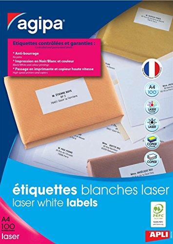 AGIPA Lot de 3 Btes 200 étiquette 210x148,5 mm (2 x 100F A4) Las / Cop Coin Droit Permanent Blanc