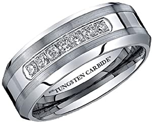 Mens Ring - Affordable Luxury Created Diamonds CZ TUNGSTEN Carbide Wedding Engagement Jewelry Band Ring Size Z ( Available in Most Sizes )