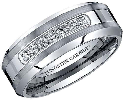 Mens Ring - Affordable Luxury Created Diamonds CZ TUNGSTEN Carbide Wedding Engagement Jewelry Band Ring ( Available in Most Sizes )