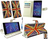 Emartbuy® Stylus Pack For Sony Xperia Z2 Mini Metallic Blue Stylus + Premium PU Leather Desktop Stand Wallet Case Cover Pouch Union Jack with Credit Card Slots + LCD Screen Protector