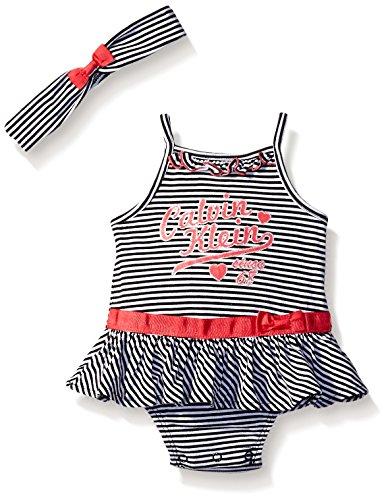 Calvin Klein Baby Girls' Stripe Jersey Sunsuit with Headband, Black/White, 0-3 Months
