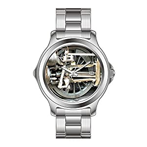 FYD Watch Man's Fashion Stainless Steel Band Watch Steam Trains Watches
