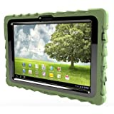 Asus Transformer TF101 (2011) Drop Tech Army Green Gumdrop Cases Silicone Rugged Shock Absorbing Protective Dual Layer Cover Case