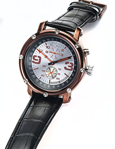 Graf Von Monte Wehro Mens Automatic Mechanical Watch Classic Black Leather Strap Brown Case Aa101552G