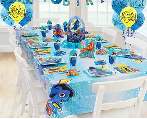 Finding Dory Complete Party Kit for 8 Guests Plates, Napkins, Cups, Banner, Tablecover, Balloons and More