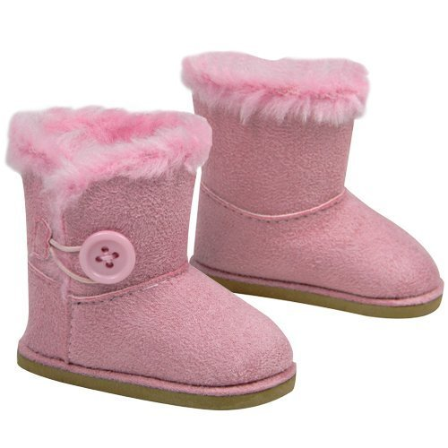 "Stylish 18 Inch Doll Boots. Fits 18"" American Girl Dolls & More! Doll Shoes of Pink Suede Style Boots W/ Pink Side Button & Pink Fur"