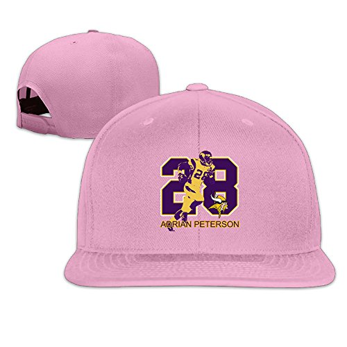 [NORAL Flat Bill Hiphop Minnesota #28 Football Player Hats Pink] (Dead Football Player Costume)
