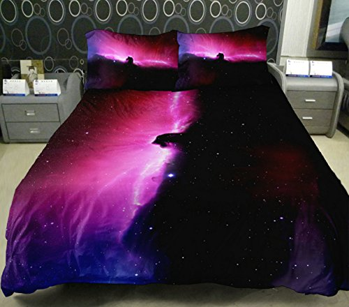 Anlye Purple Sky Bedding Set 2 Sides Printing Violet Skies Quilt Duvet Cover Aurora Flat Sheet With 2 Matching Black Aurora Never Fade Pillow Covers Twin front-843632