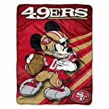 NFL San Francisco 49ers Mickey Mouse Ultra Plush Micro Super Soft Raschel Throw Blanket
