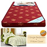 Story @ Home Foam Material Single Size Mattress Floral Pattern with Free High Quality Elegant Fancy Bedsheet with 1 Pillows Covers, (72