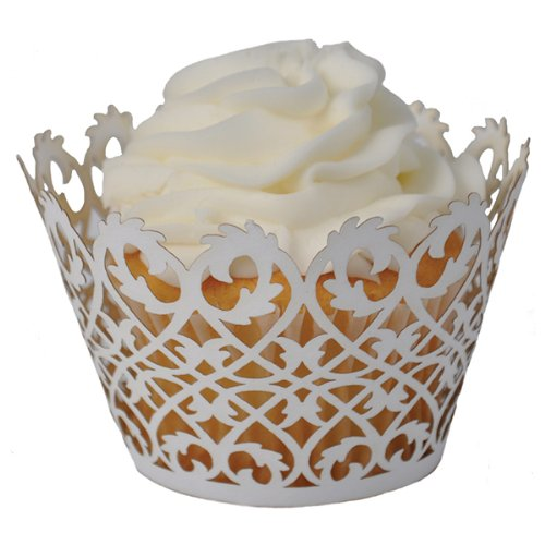Fancy Cupcake Liners SUYEPER 100pcs Cupcake Wrappers Artistic Bake