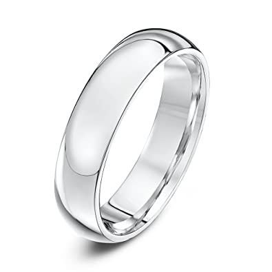 Theia 9ct Ladies Heavy Court Shape Wedding Ring - 5 mm, White Gold, Size J