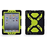 Ipad 2/3/4 Case Plastic Kid Proof Extreme Duty Dual Protective Back Cover with Kickstand and Sticker for Ipad 4/3/2 - Rainproof Sandproof Dust-proof Shockproof (Black/Green)