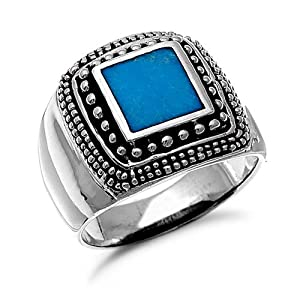 Mens Sterling Silver Square Turquoise Ring Sizes 9 to 14, 14