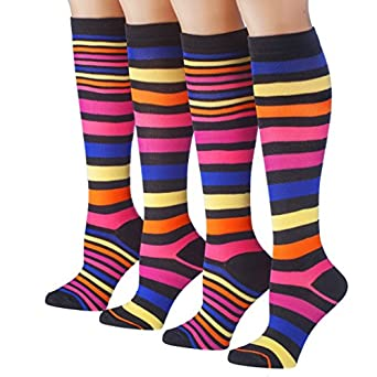 Tipi Toe Women's 4-Pack Colorful Patterned Knee High Socks, K37, 9-11