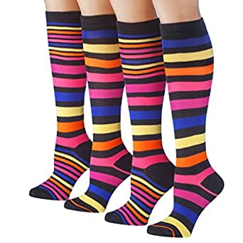 Tipi Toe Women's 4-Pack Colorful Patterned Knee High Socks, K37, 9-11