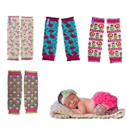 Huggalugs Variety Pack Baby Girls Pretty Flower Legwarmers Infant