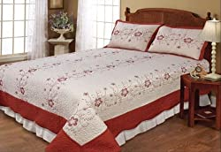 3pcs Terracotta Beige Embroidery Floral Bedspread Quilt Set with Shams Queen /Full
