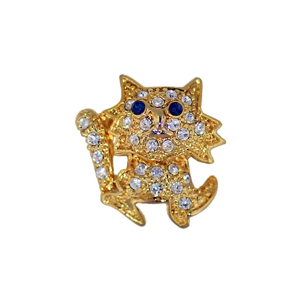 Pugster Gold Plated Blue Eye Kitty Cat With April Birthstone Clear Crystal Animal Brooch Pin