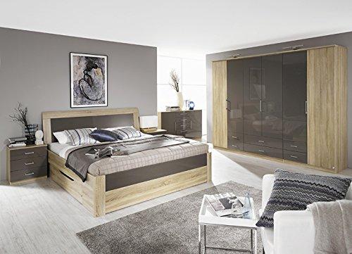 Schlafzimmer 'Klose' in Sonomaeiche-Hochglanz Lavagrau günstig bestellen