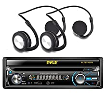 buy 1 X New 7'' Single Din In-Dash Detachable Motorized Touch Screen Tft/Lcd Monitor W/ Dvd/Cd/Mp3/Mp4/Usb/Sd/Am-Fm Bluetooth Car Audio Receiver Stereo + 2 X Pyle Phbt3E Bluetooth Sports Flex Headphones With Wrap Around Flexible Band And Built-In Mic