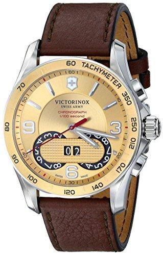 Victorinox Women's 41mm Brown Calfskin Band Steel Case Swiss Quartz Champagne Dial Watch 241617