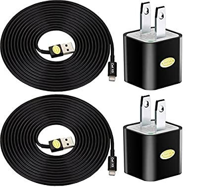 2pk 10ft Heavy Duty Lightning Cables with 2 Wall Chargers for iPhone 6S+/6S/6+/6/5/5C/5S by Cell XS(TM)