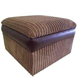 Large Camel Jumbo Cord Fabric with Brown Snakeskin Faux Leather Bumper Storage Box/Pouffe/Footstool       Customer reviews and more description