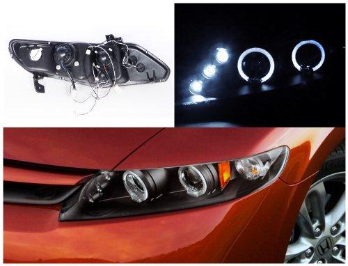 Honda Civic 4D Dual Halo Led Black Projector Head Lights : Amazon.com