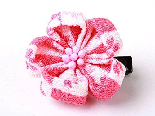 和風 梅花柄 ヘアピン 和装 髪飾り#ホワイトxピンク