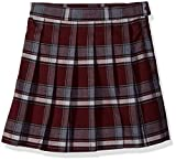 French Toast Big Girls' Plaid Pleated Skirt, Burgundy, 10