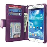 Navor Samsung Galaxy S4 Folio Wallet Leather Case for Cards & Money Pockets, ID Window (Purple)