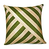 OBLIQUE DESIGN CUSHION COVER GREEN & BEIGE 1 PC (40 X 40 CMS)
