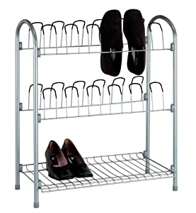 Organize It All Free Standing 12 Pair Shoe Rack With Shelf
