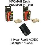 2 Canon LP-E5 Replacement Batteries 1800MAH Each Extended Life Li-ion Battery Packs + 1 Hour Rapid AC/DC 110/220V...