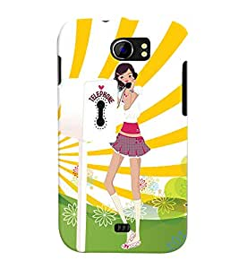 Fuson Telephone Booth Girl Back Case Cover for MICROMAX CANVAS 2 PLUS A110 A110Q - D3982