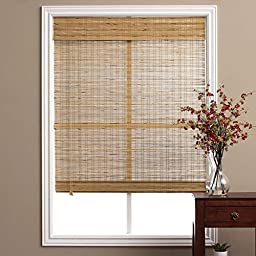 Single Piece Brown Tuscan Bamboo 29 Inch x 74 Inch Long Roman Shade, Curtain, Energy Efficient, Bamboo And Other Eco-Friendly Material Features, Easy To Clean, Taupe, Beige, Coffee, Mocha, Walnut