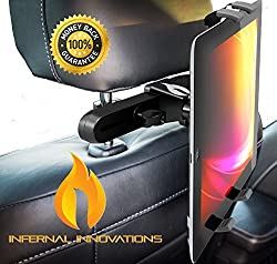 #1 Voted Car Tablet Headrest Mount   Infernal Innovations Mountster SR   Tilts Towards Middle Passenger   2 FREE EXTRA RUBBER GRIPS   Durable & Robust   iPad/iPad Mini/iPad Air/Samsung Galaxy & Many Other Tablets   Car Seat T